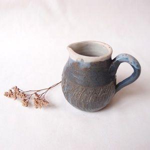 HANDMADE pottery blue milk jug